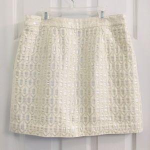 Banana Republic Woven Hexagon Silver Mini Skirt 10